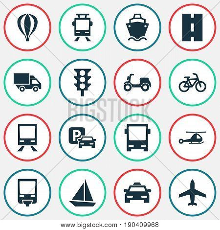 Transport Icons Set. Collection Of Cab, Skooter, Omnibus And Other Elements. Also Includes Symbols Such As Ship, Bike, Airship.