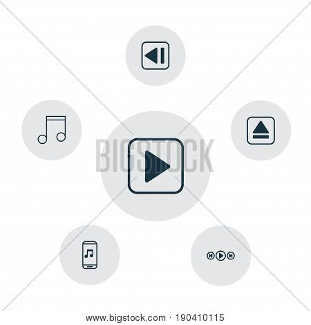 Audio Icons Set. Collection Of Audio Buttons, Start Song, Audio Mobile And Other Elements. Also Includes Symbols Such As Melody, Eject, Start.