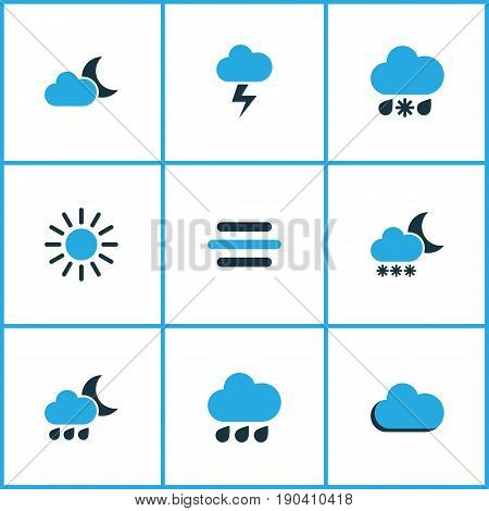 Climate Colorful Icons Set. Collection Of Fog, Moonshine, Rainfall And Other Elements. Also Includes Symbols Such As Summer, Blizzard, Lightning.