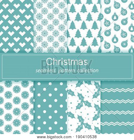 Set of festive backgrounds. Collection of seamless patterns. Blue and white color. Merry Christmas and happy New year Stock vector.