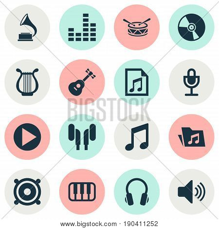 Music Icons Set. Collection Of Barrel, Mike, Sound And Other Elements. Also Includes Symbols Such As Vinyl, Loudspeaker, Phonograph.