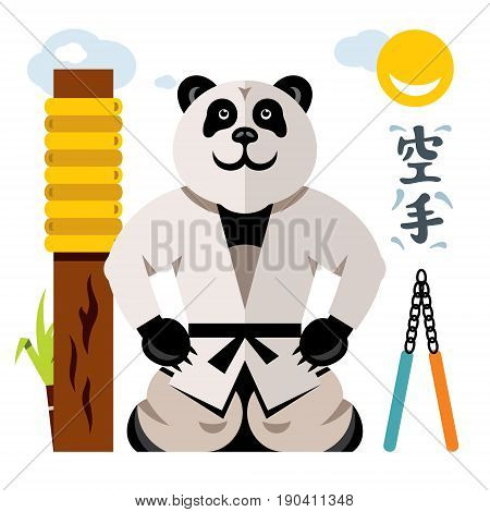 Bear in kimono sitting on his lap. Isolated on a white background