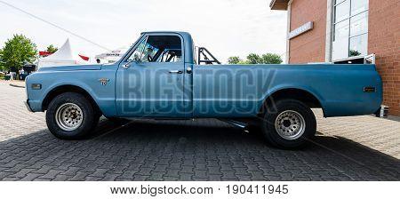 PAAREN IM GLIEN GERMANY - JUNE 03 2017: Full-size pickup truck Chevrolet C-10 Fleetside 1969. Exhibition