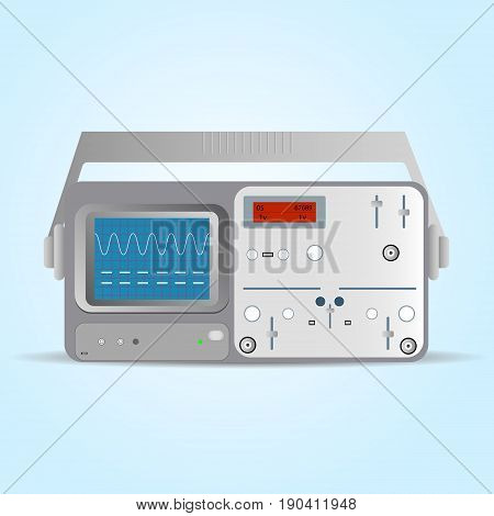 Flat vector illustration icon of oscilloscope oscillograph laboratory electric measurement experiment equipment utility