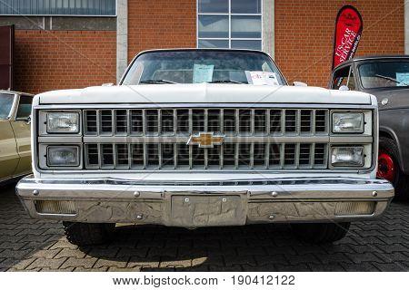 PAAREN IM GLIEN GERMANY - JUNE 03 2017: Full-size pickup truck Chevrolet C-10 1981. Exhibition