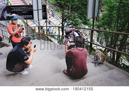 Batu Caves, Malaysia - February 7, 2016: Asian tourists take photos of monkeys on the territory of the Batu Caves most popular Hindu shrines and national landmark