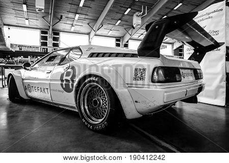 PAAREN IM GLIEN GERMANY - JUNE 03 2017: Sports car BMW M1 (E26). Rear view. Black and white. Exhibition