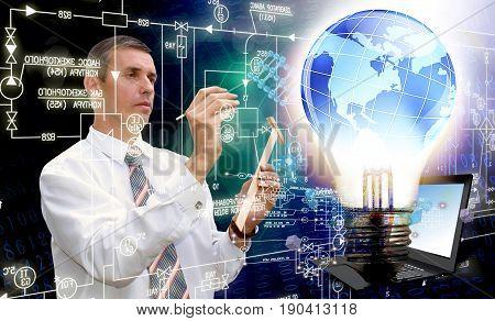 Globalization light electic technology. Internet technology.Generation industry
