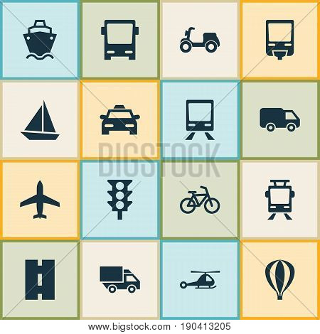 Shipment Icons Set. Collection Of Airship, Streetcar, Way And Other Elements. Also Includes Symbols Such As Yacht, Light, Way.