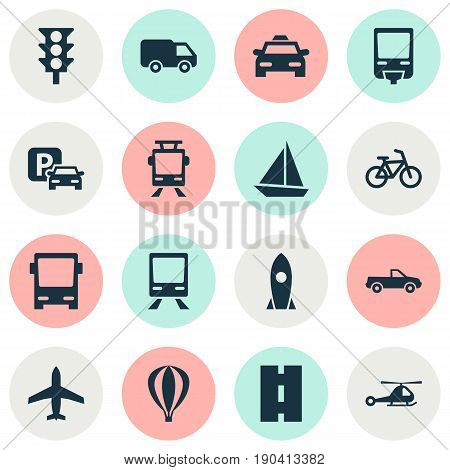 Shipment Icons Set. Collection Of Cabriolet, Airship, Railway And Other Elements. Also Includes Symbols Such As Railroad, Velocipede, Bike.