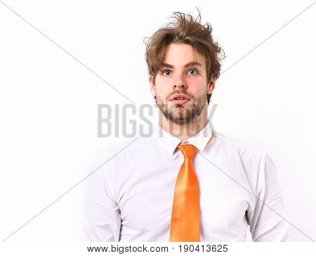 Caucasian Surprised Macho In Acid Orange Tie