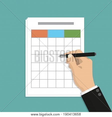 Businessman hand holding pen with spreadsheet file data