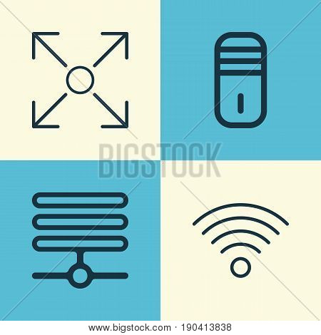 Icons Set. Collection Of Mainframe, Wireless Communications, Information Base And Other Elements. Also Includes Symbols Such As Algorithm, Communication, Base.