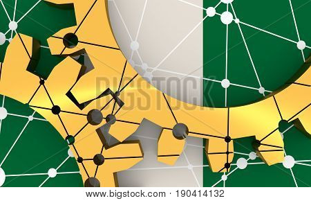 Mechanism of Gears. Communication Concept in Industrial Design. Modern brochure design template. 3D rendering. Flag of Nigeria on backdrop.