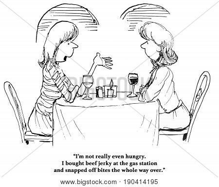Cartoon about a woman so hungry that she got a quick snack of beef jerky.