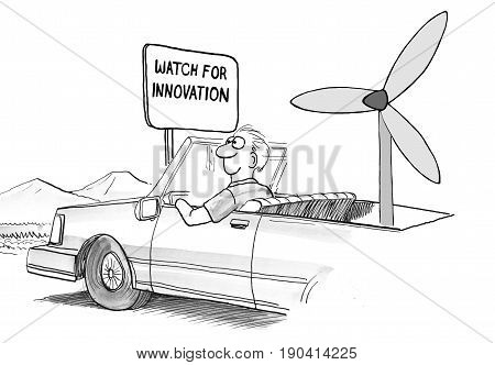 Business cartoon about a man in an autonomous car propelled by win, 'watch for innovation'.