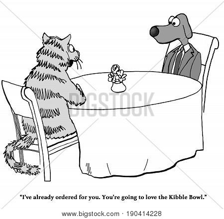 Cartoon about a cat who ordered his friend, the dog, kibble.