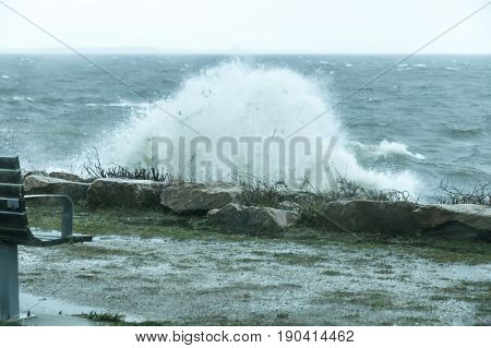 Unusual southeasterly winds blowing out of Buzzards Bay smash into Fort Phoenix shoreline
