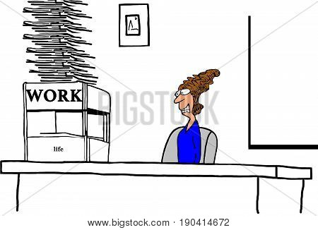 Business cartoon illustration about a stressed business woman looking at her huge stack of work to be done and small amount of time left for life.