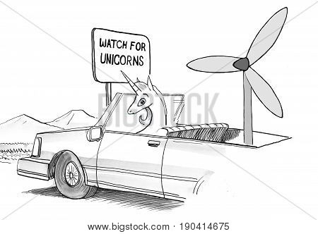 Business cartoon illustration showing a unicorn in a autonomous vehicle powered by wind.