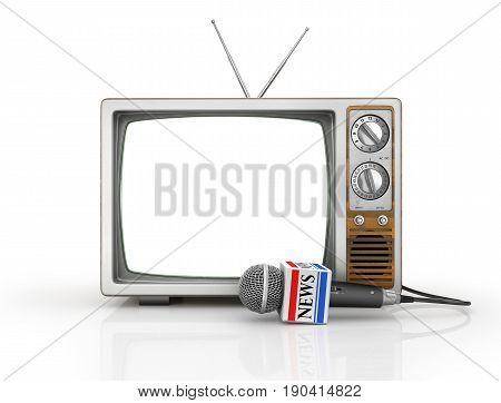 Tv news or reportage concept. Microphone due to old TV on a white background. Microphone and television. 3d illustration