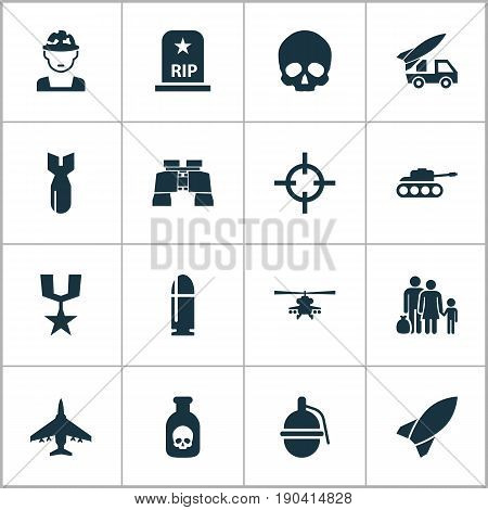 Army Icons Set. Collection Of Chopper, Panzer, Ordnance And Other Elements. Also Includes Symbols Such As Panzer, Cranium, Mechanism.