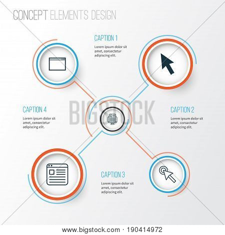 Connection Icons Set. Collection Of Blog Page, Website Page, Mouse And Other Elements. Also Includes Symbols Such As Browser, Click, News.