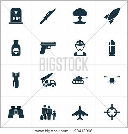 Army Icons Set. Collection Of Aircraft, Fugitive, Cutter And Other Elements. Also Includes Symbols Such As Bullet, Aircraft, Shot.