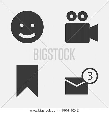 Media Icons Set. Collection Of Inbox, Camcorder, Flag And Other Elements. Also Includes Symbols Such As Camcorder, Inbox, Conversation.