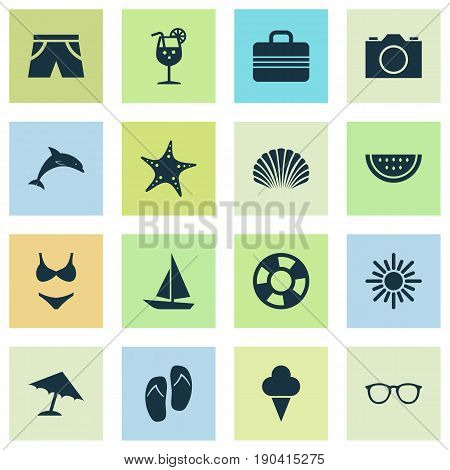 Sun Icons Set. Collection Of Beach Sandals , Video, Sunny Elements. Also Includes Symbols Such As Smelting, Shorts, Watermelon.