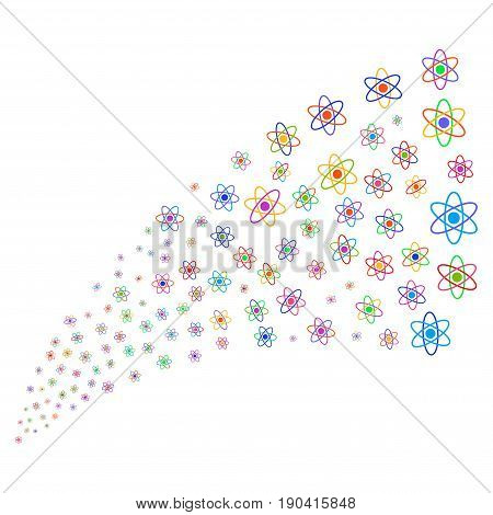 Fountain of atom symbols. Vector illustration style is flat bright multicolored iconic atom symbols on a white background. Object fountain organized from symbols.