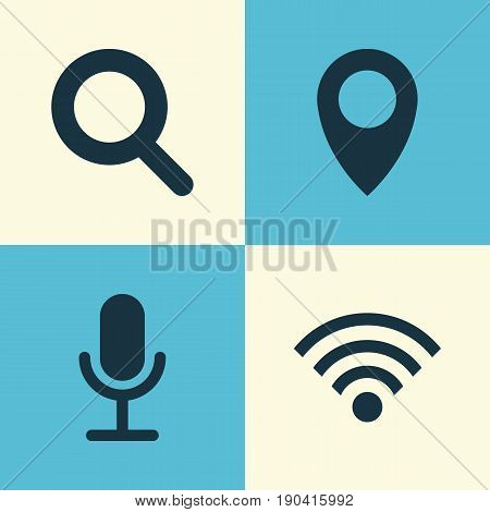 Media Icons Set. Collection Of Magnifier, Wireless Connection, Pin And Other Elements. Also Includes Symbols Such As Wifi, Search, Wireless.