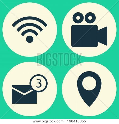 Social Icons Set. Collection Of Inbox, Pin, Wireless Connection And Other Elements. Also Includes Symbols Such As Point, Location, Video.