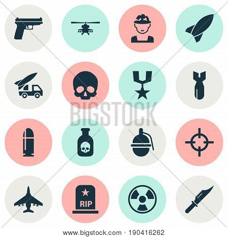 Warfare Icons Set. Collection Of Chopper, Aircraft, Danger And Other Elements. Also Includes Symbols Such As Grenade, Bio, Poison.