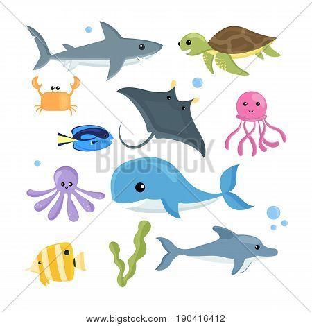 Vector set of sea creatures. Cartoon style sea animals.