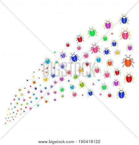 Fountain of bug symbols. Vector illustration style is flat bright multicolored iconic bug symbols on a white background. Object fountain done from pictographs.