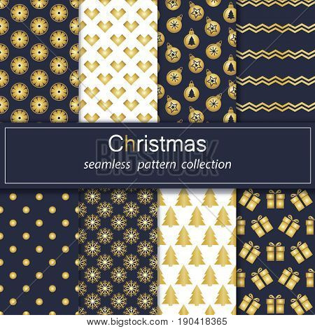 Set. Seamless backgrounds with traditional symbols of Christmas and new year. Golden collection of patterns with blue and white flowers. Stock vector.