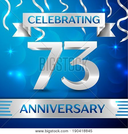 Seventy three Years Anniversary Celebration Design. Confetti and silver ribbon on blue background. Colorful Vector template elements for your birthday party. Anniversary ribbon