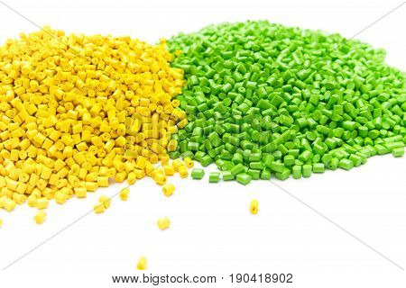 The Plastic Granules. Polymeric Dye On A Light Table In The Laboratory.