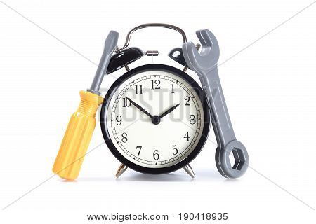 Classic Alarm Clock With Plastic Toy Tools