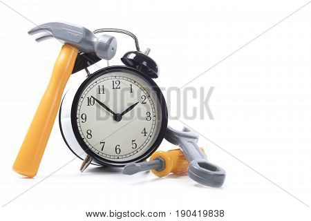 Toy Tools Around Alarm Clock