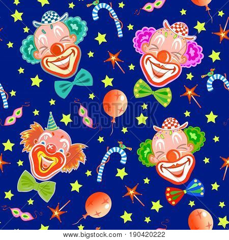 Seamless pattern with laughing clowns in blue.