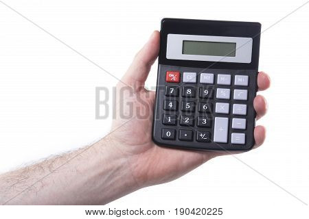 Man holding a calculator with a blank digital display in his hand isolated on white in a conceptual financial or mathematical image