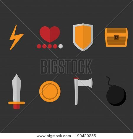 set collection of game items lightning bolt heart defense shield treasure sword coin axe bomb flat icons vector with light black background