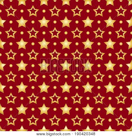 Seamless pattern with gold stars on a red background. Stock vector