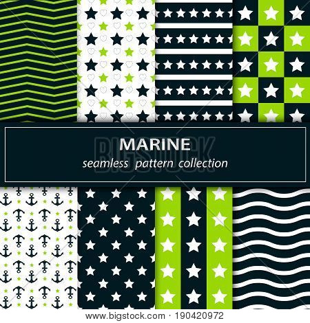 Set.Collection seamless pattern in green blue and white. Great independence Day The 4th of July. A set of American origin.Stars stripes zigzags. Vector stock.