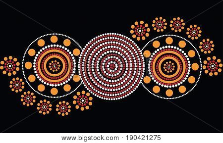 Aboriginal dot art vector background. Illustration based on aboriginal style of dot painting