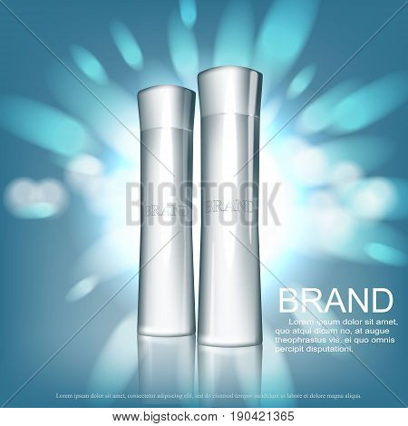 Cosmetic design template. Vector tube packaging with glossy silver cup on silver glitter background with bokeh.