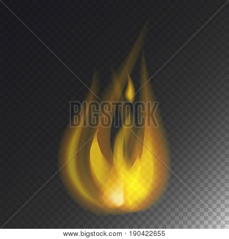 Fire flame hot burn vector icon warm danger and cooking yellow bonfire. Light blazing campfire ignite design and detail fireplace passion transparent sign.