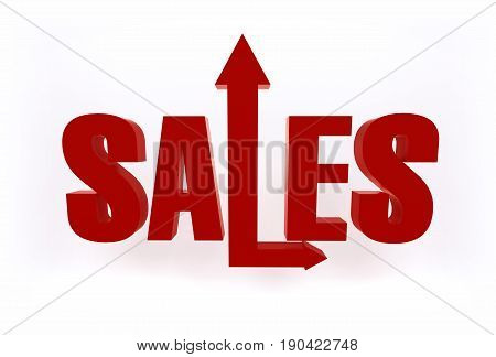 Red bright 3D Sales sign text object with growing up and forward arrows on white background